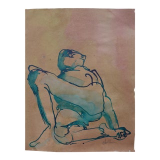 """""""Reclining Male"""" Ink, Charcoal, and Pastel Drawing by Martha Holden"""