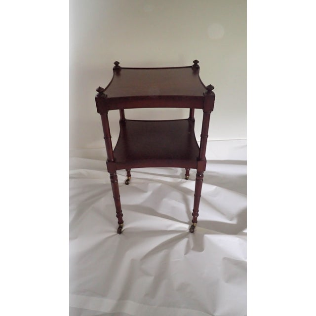 Baker Tea Cart Faux-Bamboo Mid-Century Modern Style C.1980's Mahogany Excellent - Image 3 of 5