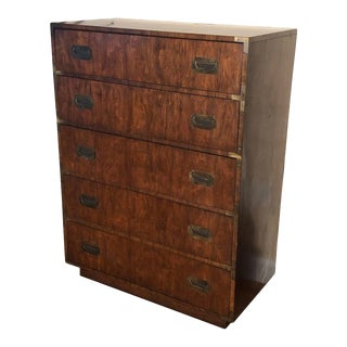 Campaign Highboy Chest of Drawers For Sale