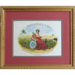 Vintage Framed Cuban Cigar Box Label, Quintero Y Hno For Sale