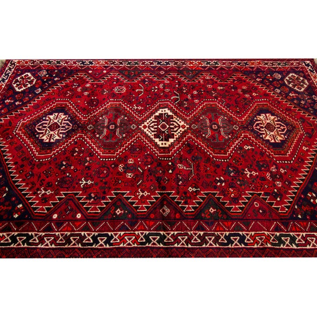 """Red Vintage Persian Shiraz Rug, 5'6"""" X 8'9"""" For Sale - Image 8 of 9"""