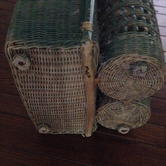 Vintage Green Wicker Picnic Basket - Image 8 of 11