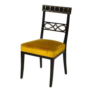 Set of Ten Brass-Inlaid and Ebonized Dining Chairs in the Regency Manner For Sale