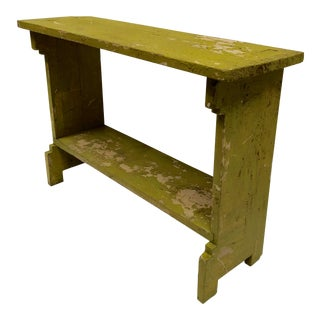 1800s French Farmhouse Painted Bucket Bench For Sale