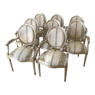 Gold Leaf Louis XVI Chairs - Set of 8