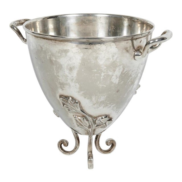 Vintage Silver Plate Legged Ice Bucket or Cooler For Sale