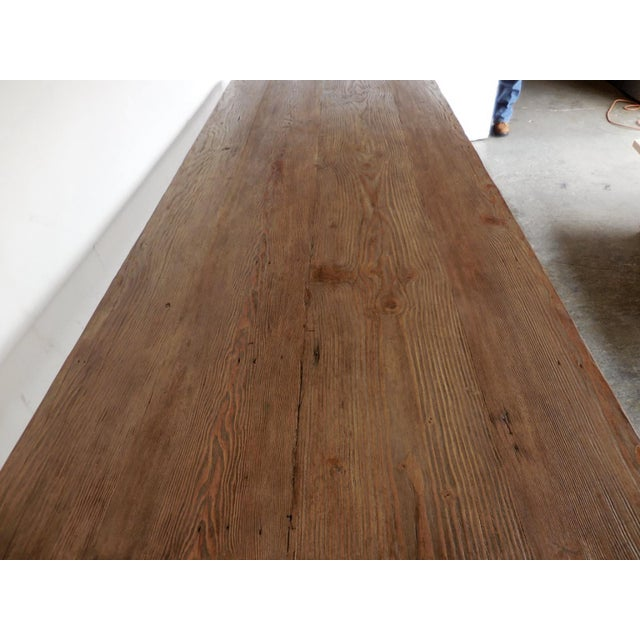 Custom Reclaimed Wood Table With Iron Base