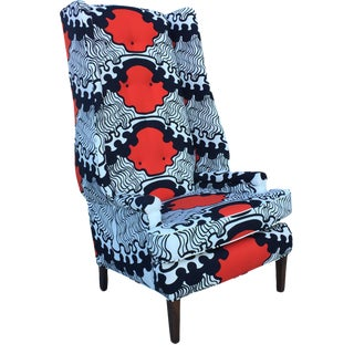 Red White Blue Vintage Mid-Century Wingback Chair