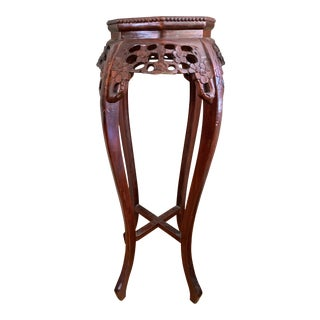 Vintage Asian Carved Rosewood Marble Plantstand For Sale