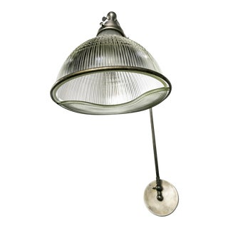 Reeded Holophane Shades as Armed Sconces For Sale