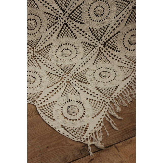 "Antique French Table Cover / Crochet Handmade Lace Textile with Fringe - 84"" x 67"" For Sale - Image 9 of 9"
