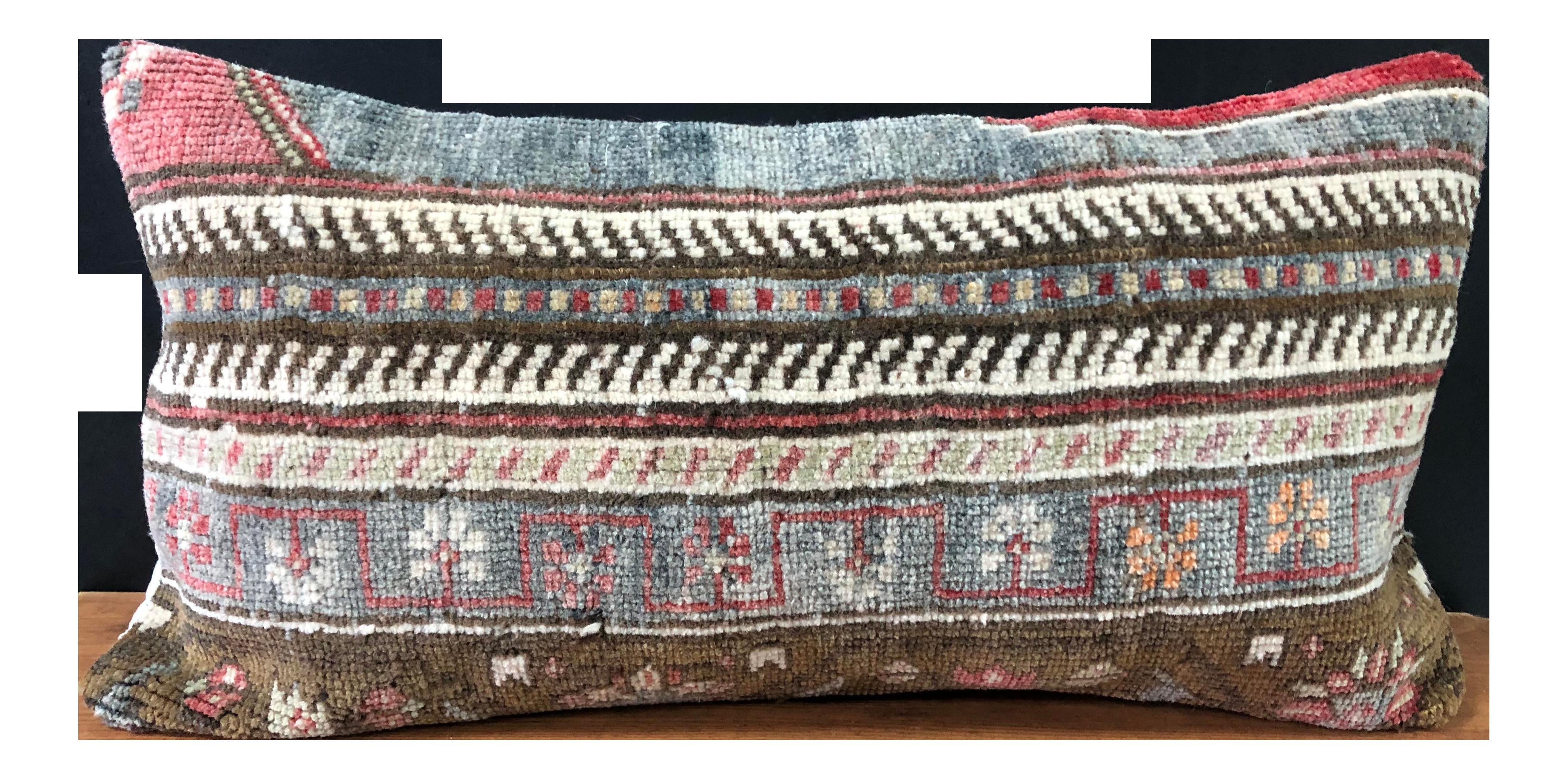 Decorative Carpet Pillow Cushion cover made from Vintage Turkish Anatolian Rug E0011U 14x20 35x50cm