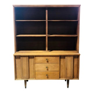 1960s Danish Modern Stanley Credenza Hutch Bookcase For Sale