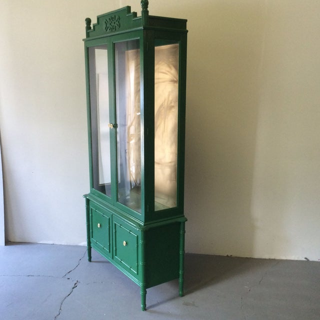 Vintage Green/Gold Bamboo Hutch For Sale - Image 5 of 8