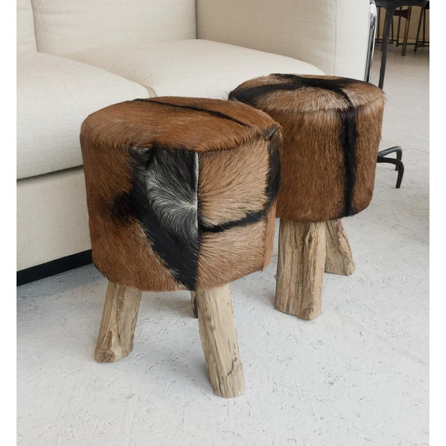 Animal Skin 1970s Primitive Nubuck Hide Stools - a Pair For Sale - Image 7 of 7