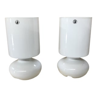 White Handmade Glass Table Lamps- a Pair For Sale