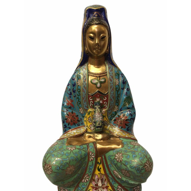 Vintage 1940s Cloisonné Kwan-Yin GuanYin Statue / Figurine For Sale - Image 9 of 13
