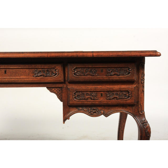 Oak 1930s French Louis XV-Style Parquet Top Writing Desk For Sale - Image 7 of 9