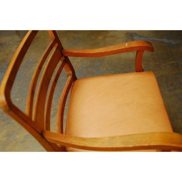 Brown Mid-Century Mahogany and Leather Library Chairs - A Pair For Sale - Image 8 of 9