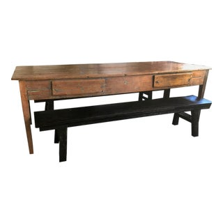 19th Century Pine Harvest Table with Benches - 3 PC. Set For Sale