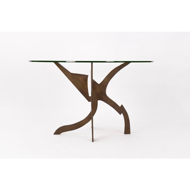 De Rossi, bronze sculptural abstract base with glass top.