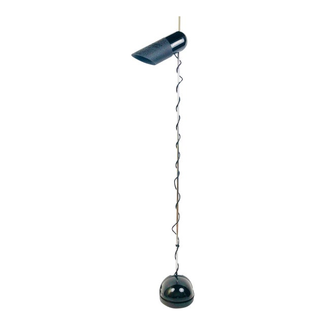 H. Guzzini Adjustable Head Floor Lamp with Stone Weighted Base and Floor Switch For Sale