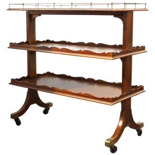1930s Art Deco Grosfeld House 3-Tier Mahogany Bar Cart or Butler's Etagere For Sale