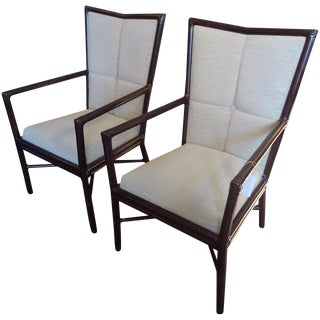 Transitional Barbara Barry High Back Armchairs - a Pair For Sale
