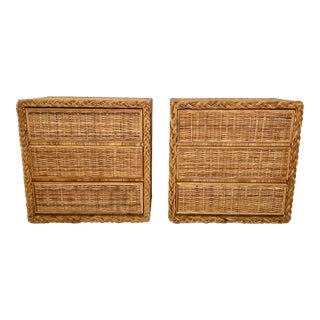 Vintage Wicker Woven Chests of Drawers With Braided Trim- a Pair For Sale