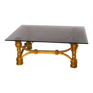 Small Art Deco Gilt-Wood & Black Glass Coffee or Cocktail Table For Sale
