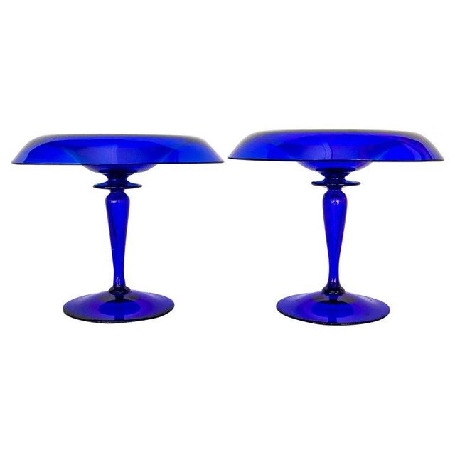 Glass 1940s Cobalt Blue Glass Compotes - a Pair For Sale - Image 7 of 7