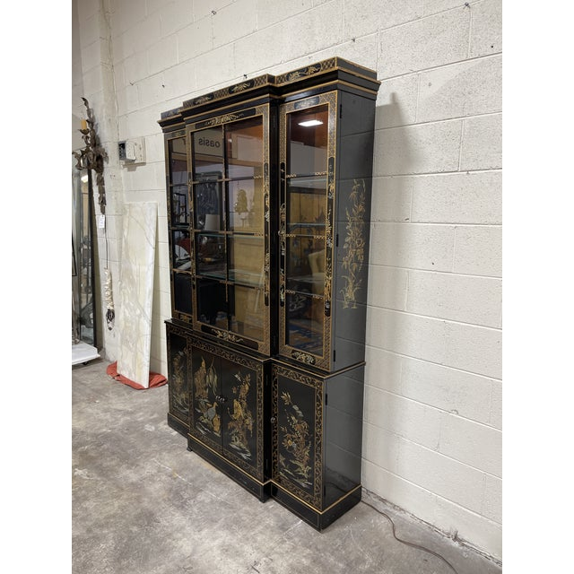 Drexel Drexel Hand Painted Black Lacquer China Cabinet For Sale - Image 4 of 7