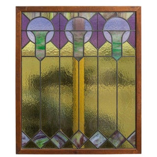 American Art Deco Stained Glass Panel 1920s For Sale