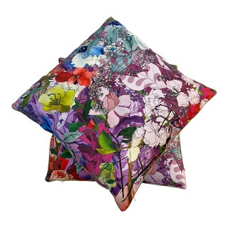 Summer Floral Digital Print Fabric Pillow For Sale