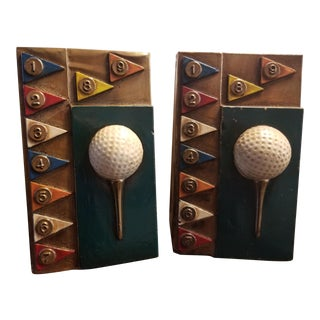 1935 Vintage Marion Art Deco Bronze Golf Bookends - a Pair For Sale