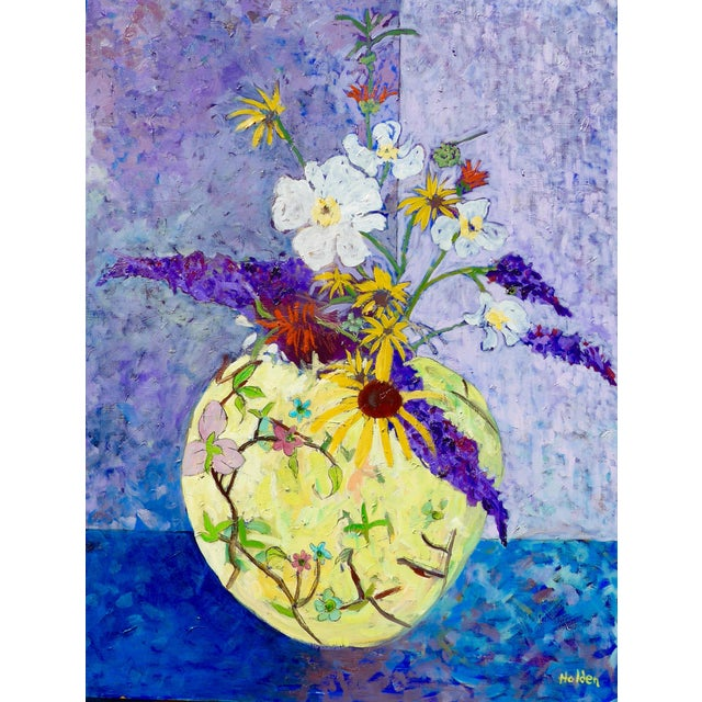 Wildflowers - Large Oil Painting by Martha Holden For Sale
