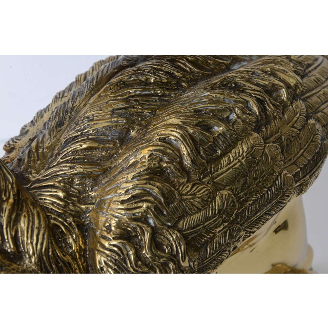 Metal Hollywood Regency Style Cast Brass Sculpture of a Pelican, Italy, 1960s For Sale - Image 7 of 11