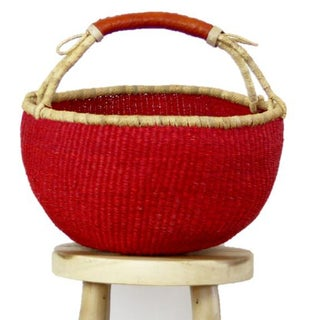 African Boho Chic Bolga Ghana Medium Red Woven Fiber Basket Preview
