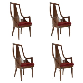 Set of Tall Back Walnut Dining Armchairs For Sale