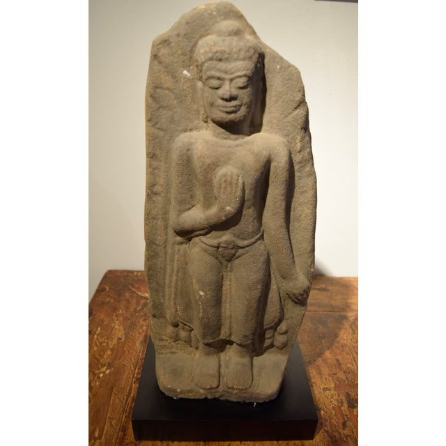 Gray Tibetan Buddah Carved in Sandstone For Sale - Image 8 of 8