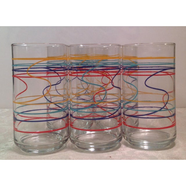 Mid-Century Modern Multicolored Glasses - Set of 6 For Sale - Image 4 of 8