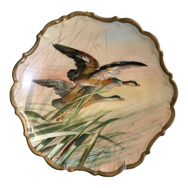 Antique French Porcelain Game Bird Hand Painted Plate, Signed For Sale