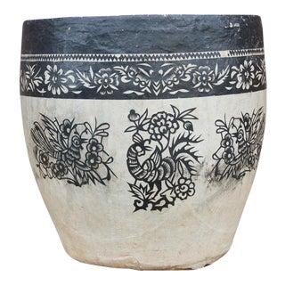 Birds and Floral Paper Mache Applique Basket For Sale