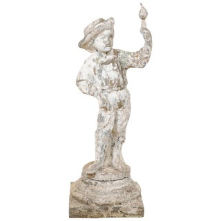 French Early 20th Century Cast-Stone Garden Sculpture of Boy With Bird For Sale