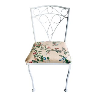 Garden Style Vintage Wrought Iron Side Chair Bailey & Griffin Fabric For Sale