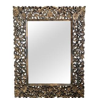 Antique Carved Floral Motif Wood Mirror For Sale