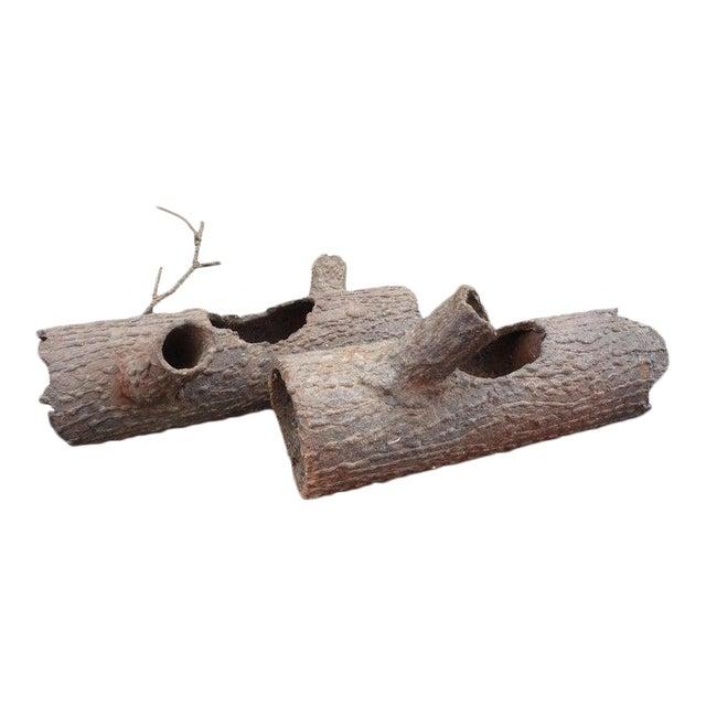 Iron Faux Bois Log Sculptures-A Pair For Sale