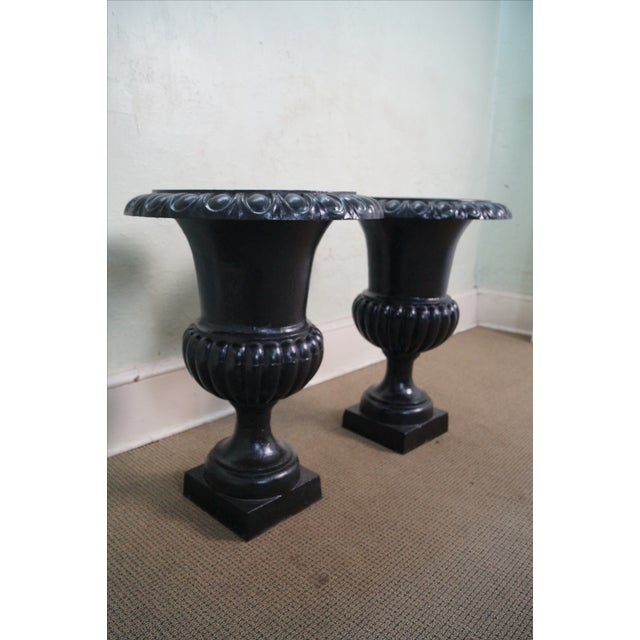Classic French Style Black Cast Iron Urns (A) - Image 3 of 10