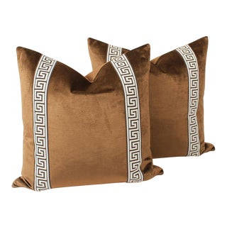 Espresso Velvet Greek Key Pillows, Pair For Sale