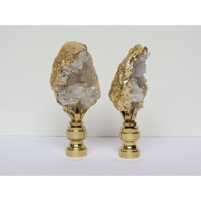 Gold Leaf Geode Crystal Finials - a Pair - Image 3 of 4